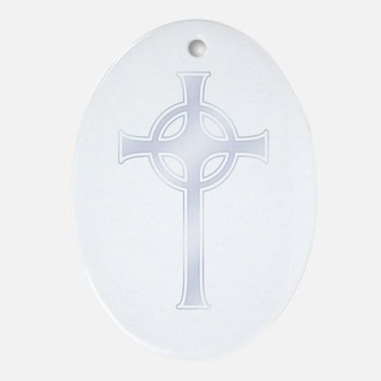 "Celtic ""Silver"" Cross Oval Ornament"