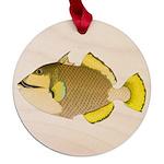 Titan triggerfish Maple Round Ornament