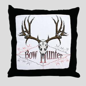 Bow hunter,deer skull Throw Pillow