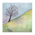 California Tree Watercolor Tile Coaster