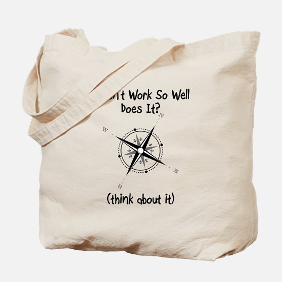 Super Awesome Broke Compass Tote Bag