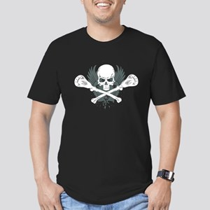Lacrosse and Bones Men's Fitted T-Shirt (dark)