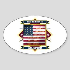 11th Michigan Sticker (Oval)