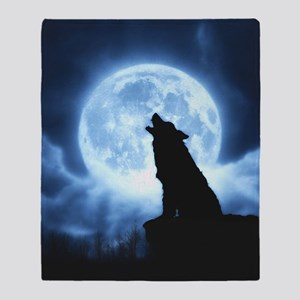 Cries of the Night Wolf Throw Blanket Cover