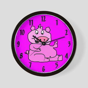 Pink Cartoon Pig Wall Clock