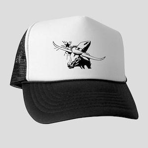 Longhorn Steer wearing 10 Gallon Hat Trucker Hat