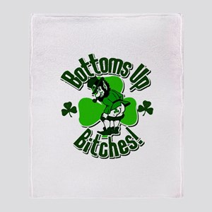 Bottoms Up Bitches Leprechaun Throw Blanket