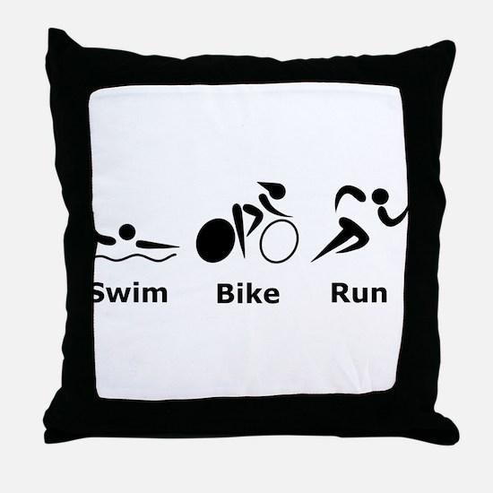 Swim Bike Run Throw Pillow
