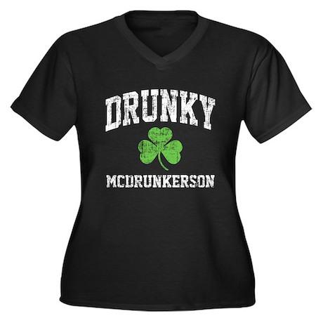 Drunky Women's Plus Size V-Neck Dark T-Shirt