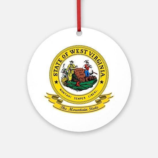 West Virginia Seal Ornament (Round)