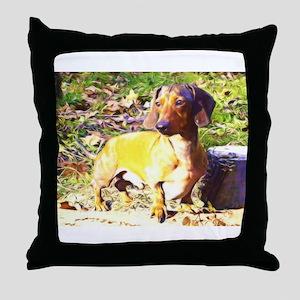 Plotting Mini Doxie Throw Pillow