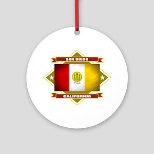 San Diego Flag Ornament (Round)