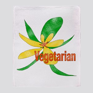 Vegetarian Flower Throw Blanket