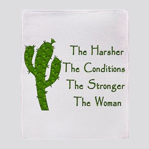 Harsh Conditions Strong Woman Throw Blanket