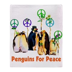 Penguins For Peace Throw Blanket