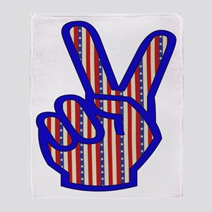 Patriotic Peace Sign Throw Blanket