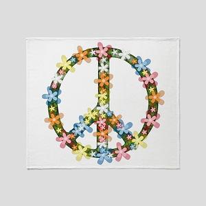 Peace Flowers Throw Blanket
