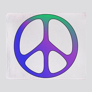 Rainbow Colored Peace Sign Throw Blanket