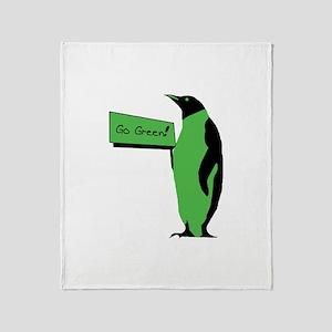 Go Green Penguin Throw Blanket