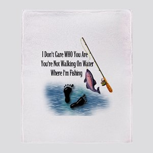 Fishing Here! Throw Blanket