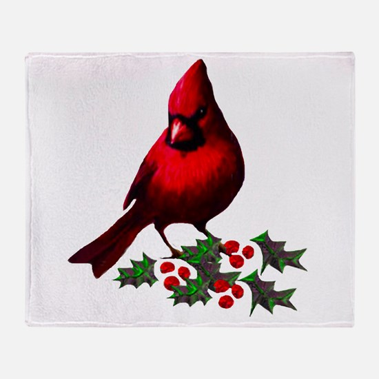Christmas Cardinal Throw Blanket