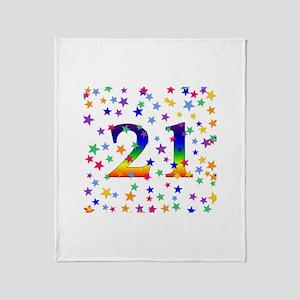 Rainbow Stars 21st Birthday Throw Blanket