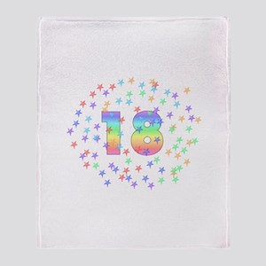 18th Birthday Pastel Stars Throw Blanket