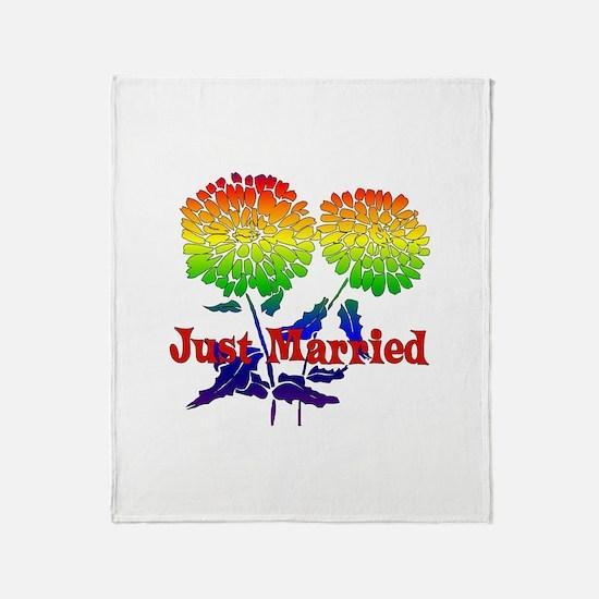 Rainbow Flower Marriage Throw Blanket