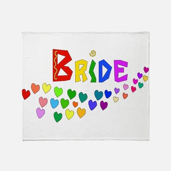 Rainbow Hearts Bride Throw Blanket
