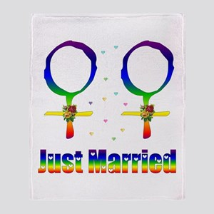 Just Married Lesbians Throw Blanket