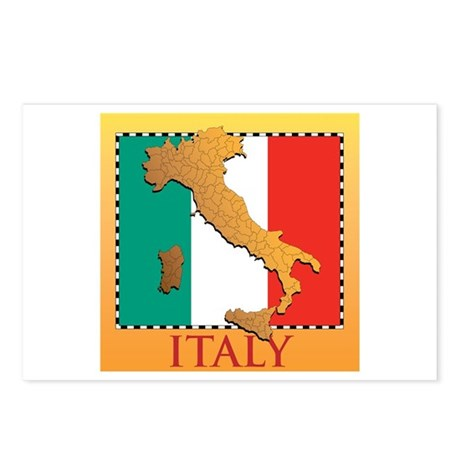Italy Map with Flag Postcards (Package of 8)