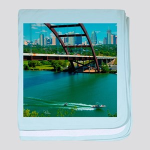 Austin Texas Skyline Bridge baby blanket