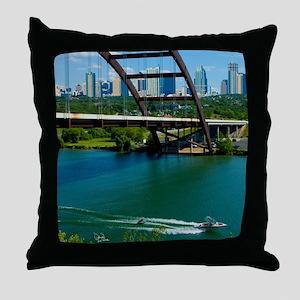 Austin Texas Skyline Bridge Throw Pillow