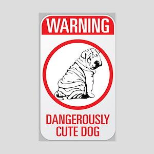 Beware Dangerous Dog Sticker (Rectangle)