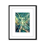 African Antelope Green Framed Panel Print