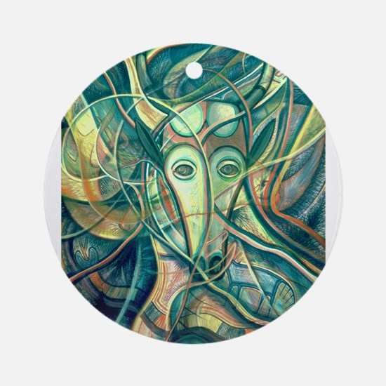 African Antelope Green Ornament (Round)