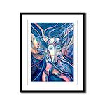 African Antelope Blue Framed Panel Print