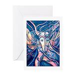 African Antelope Blue Greeting Card