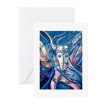 African Antelope Blue Greeting Cards (Pk of 10)