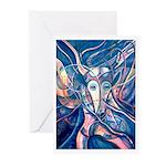 African Antelope Blue Greeting Cards (Pk of 20)
