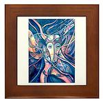 African Antelope Blue Framed Tile