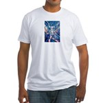African Antelope Blue Fitted T-Shirt