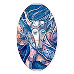 African Antelope Blue Sticker (Oval)