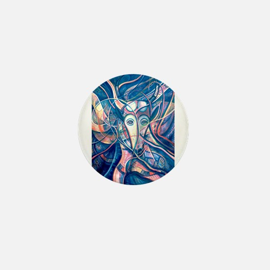 African Antelope Blue Mini Button