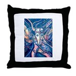 African Antelope Blue Throw Pillow
