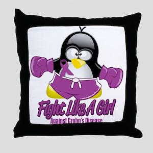 Crohn's Disease Fighting Peng Throw Pillow