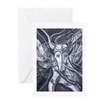 African Antelope B&W Greeting Card