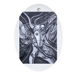 African Antelope B&W Ornament (Oval)