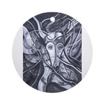 African Antelope B&W Ornament (Round)