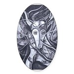 African Antelope B&W Sticker (Oval 10 pk)